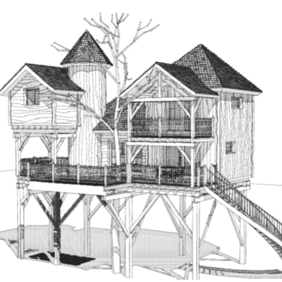 cabane chateau dans les arbres - Peydébé